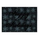 Azul oscuro del modelo del copo de nieve felicitación