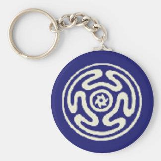 Azul pagano y blanco del símbolo de Wicca de la RU Llavero