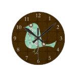 Azul/pájaro lindos del modelo de Brown Reloj