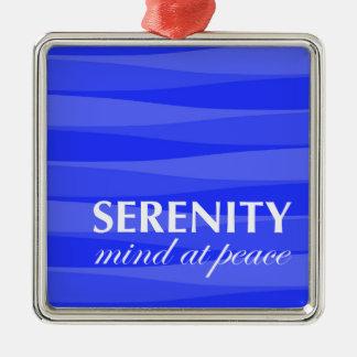 Azul para la serenidad adorno navideño cuadrado de metal