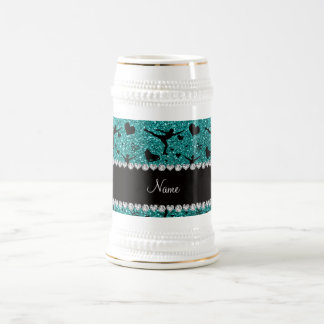 Azul patinaje artístico el brillo del huevo jarra de cerveza
