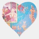 azul pegatina de corazon personalizadas