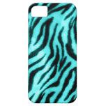 Azul peludo de la cebra iPhone 5 Case-Mate coberturas