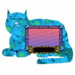 azul personal del marco de la imagen del gato esculturas fotográficas