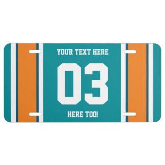 Azul personalizada y el naranja se divierte rayas placa de matrícula