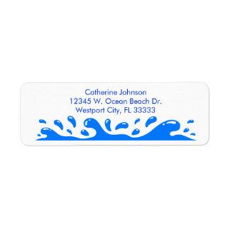 Azul personalizado chapoteo del agua de las olas etiqueta de remitente