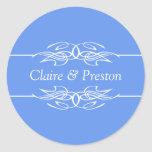 Azul personalizado del Cornflower de la invitación Etiquetas Redondas