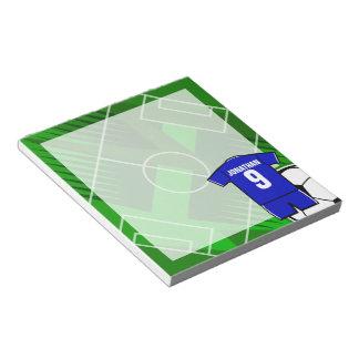 Azul personalizado del jersey de fútbol con blanco bloc de notas