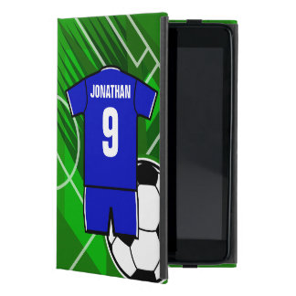 Azul personalizado del jersey de fútbol con blanco iPad mini fundas