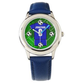Azul personalizado del jersey de fútbol con blanco relojes de pulsera