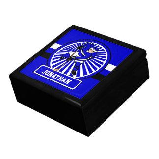 Azul personalizado del jugador del hockey sobre joyero cuadrado grande