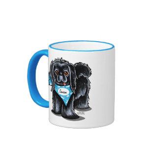 Azul personalizado nombre del animal de compañía taza a dos colores