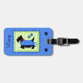 Azul personalizado nombre negro del perro de etiquetas bolsa