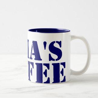 Azul personalizado taza de dos tonos