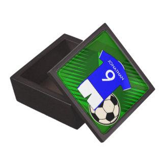 Azul personalizado y blanco del jersey de fútbol caja de regalo de calidad