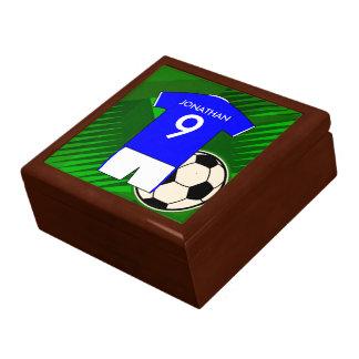 Azul personalizado y blanco del jersey de fútbol joyero cuadrado grande
