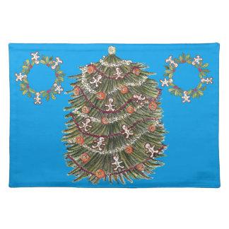 Azul Placemat del árbol de navidad del algodón Mantel