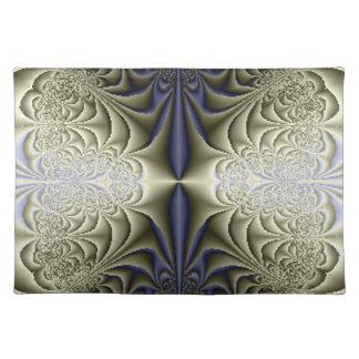Azul Placemats de la plata de la elegancia del fra Mantel Individual