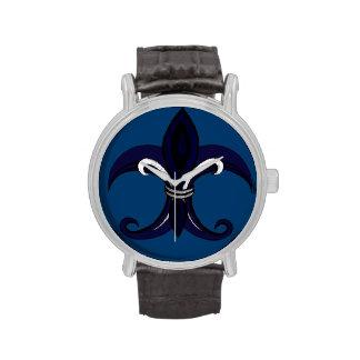 Azul/plata de la flor de lis reloj de mano