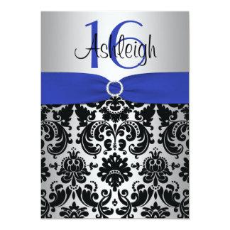 Azul, plata, e invitación negra del dulce 16 del