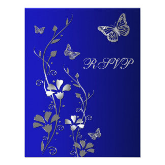 Azul plata floral con la tarjeta de contestación invitaciones personalizada
