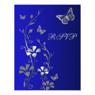 """Azul, plata floral con la tarjeta de contestación invitación 4.25"""" x 5.5"""""""