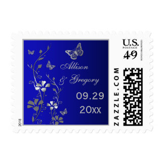 Azul, plata floral, mariposas que casan franqueo