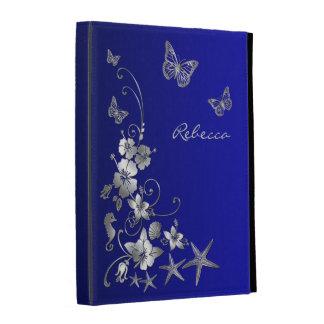 Azul, plata náutica, 1,2,3) folios floral del iPad