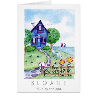 azul por el mar tarjeta de felicitación