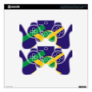 Azul porta brasileño mando PS3 calcomanías