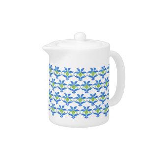 Azul, pote blanco del té del modelo de Nouveau del