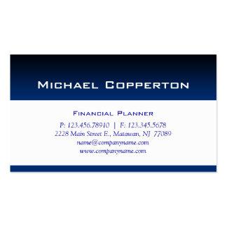 Azul profesional del planificador financiero de la tarjeta de visita