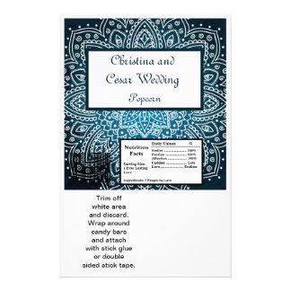 Azul profundamente marroquí grande de la envoltura tarjetas informativas