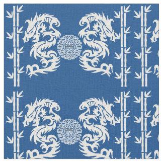 Azul profundo con los dragones y el bambú telas