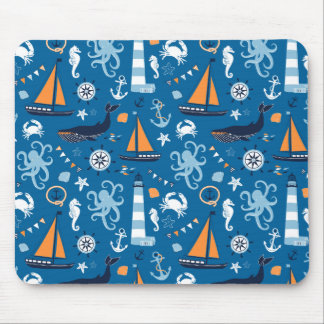 Azul profundo todas las cosas náuticas alfombrilla de ratones