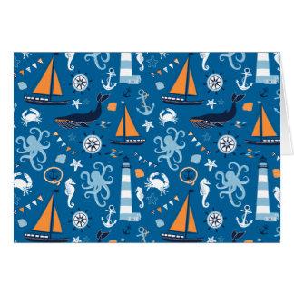 Azul profundo todas las cosas náuticas felicitación