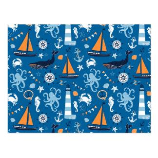 Azul profundo todas las cosas náuticas postal