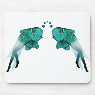 Azul psicodélico de los pescados alfombrilla de ratones