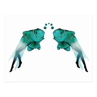 Azul psicodélico de los pescados postales