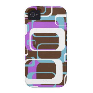 Azul púrpura de Brown de los cuadrados geométricos Vibe iPhone 4 Funda