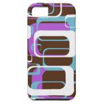 Azul púrpura de Brown de los cuadrados geométricos iPhone 5 Case-Mate Cobertura