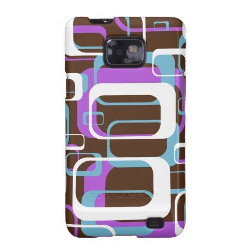 Azul púrpura de Brown de los cuadrados geométricos Samsung Galaxy S2 Carcasa