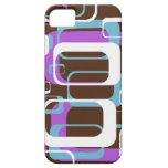 Azul púrpura de Brown de los cuadrados geométricos iPhone 5 Case-Mate Fundas