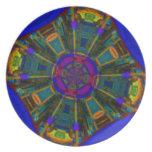 Azul púrpura de cena abstracto del espacio plato de comida