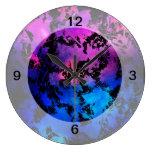 Azul púrpura de la salpicadura de la tinta relojes de pared