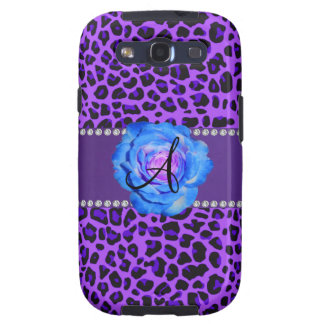 Azul púrpura del leopardo del monograma subió galaxy SIII cárcasa