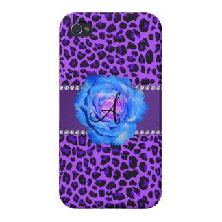 Azul púrpura del leopardo del monograma subió iPhone 4/4S carcasa