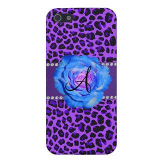 Azul púrpura del leopardo del monograma subió iPhone 5 carcasa