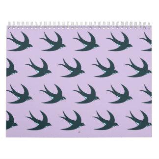 Azul púrpura del modelo del pájaro de vuelo calendario de pared