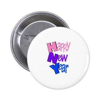 Azul púrpura del rosa de la Feliz Año Nuevo Pin